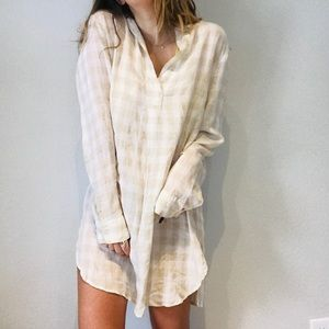 Anthro 4our dreamers plaid oversized flannel dress